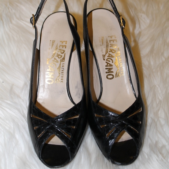 29ac4f772a47c Ferragamo Black Leather Slingback Heels